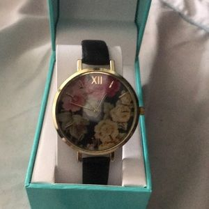 Floral Watch Large Face Large Numbers Black Band
